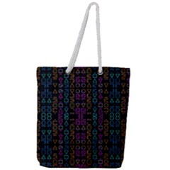 Neon Geometric Seamless Pattern Full Print Rope Handle Tote (large)