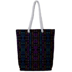 Neon Geometric Seamless Pattern Full Print Rope Handle Tote (small)