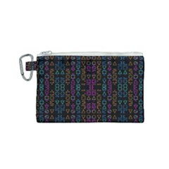 Neon Geometric Seamless Pattern Canvas Cosmetic Bag (small)