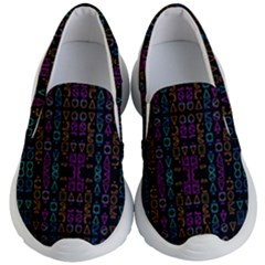 Neon Geometric Seamless Pattern Kids Lightweight Slip Ons