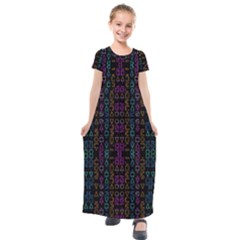 Neon Geometric Seamless Pattern Kids  Short Sleeve Maxi Dress