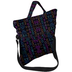 Neon Geometric Seamless Pattern Fold Over Handle Tote Bag