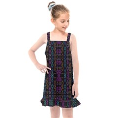 Neon Geometric Seamless Pattern Kids  Overall Dress