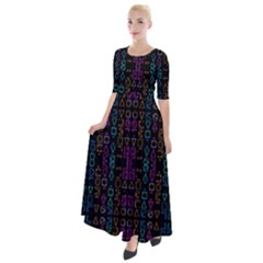 Neon Geometric Seamless Pattern Half Sleeves Maxi Dress