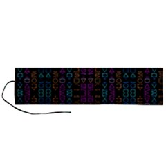 Neon Geometric Seamless Pattern Roll Up Canvas Pencil Holder (l)