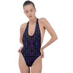 Neon Geometric Seamless Pattern Backless Halter One Piece Swimsuit