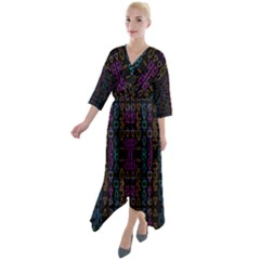 Neon Geometric Seamless Pattern Quarter Sleeve Wrap Front Maxi Dress