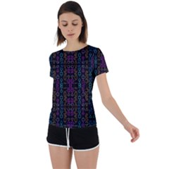 Neon Geometric Seamless Pattern Back Circle Cutout Sports Tee