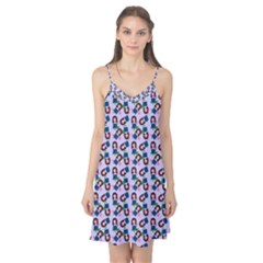 Goth Girl In Blue Dress Lilac Pattern Camis Nightgown