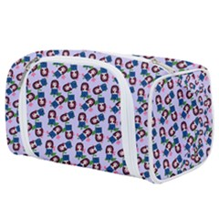 Goth Girl In Blue Dress Lilac Pattern Toiletries Pouch