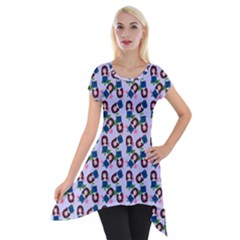 Goth Girl In Blue Dress Lilac Pattern Short Sleeve Side Drop Tunic by snowwhitegirl