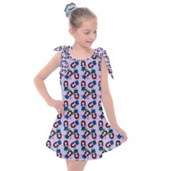 Goth Girl In Blue Dress Lilac Pattern Kids  Tie Up Tunic Dress