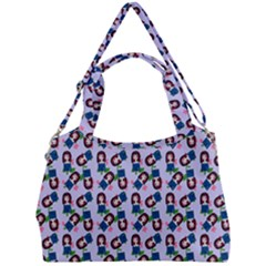 Goth Girl In Blue Dress Lilac Pattern Double Compartment Shoulder Bag by snowwhitegirl