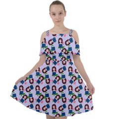 Goth Girl In Blue Dress Lilac Pattern Cut Out Shoulders Chiffon Dress by snowwhitegirl
