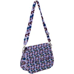 Goth Girl In Blue Dress Lilac Pattern Saddle Handbag by snowwhitegirl