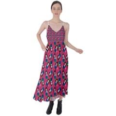Goth Girl In Blue Dress Pink Pattern Tie Back Maxi Dress by snowwhitegirl