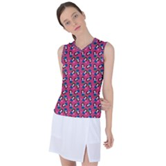 Goth Girl In Blue Dress Pink Pattern Women s Sleeveless Sports Top by snowwhitegirl
