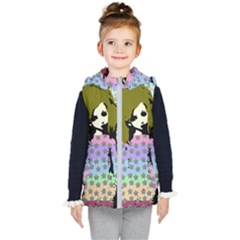 Girl With Star Striped Dress Kids  Hooded Puffer Vest