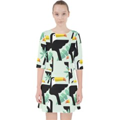 Seamless Tropical Pattern With Birds Pocket Dress