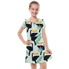 Seamless Tropical Pattern With Birds Kids  Cross Web Dress