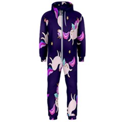 Fantasy Fat Unicorn Horse Pattern Fabric Design Hooded Jumpsuit (men)
