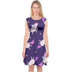 Fantasy Fat Unicorn Horse Pattern Fabric Design Capsleeve Midi Dress