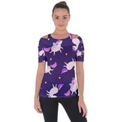 Fantasy Fat Unicorn Horse Pattern Fabric Design Shoulder Cut Out Short Sleeve Top