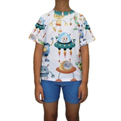 Vector Set Funny Robots Cartoon Kids  Short Sleeve Swimwear