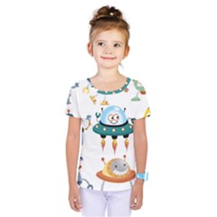 Vector Set Funny Robots Cartoon Kids  One Piece Tee