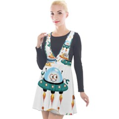 Vector Set Funny Robots Cartoon Plunge Pinafore Velour Dress