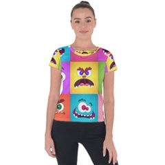 Monsters Emotions Scary Faces Masks With Mouth Eyes Aliens Monsters Emoticon Set Short Sleeve Sports Top  by Bejoart