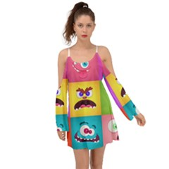 Monsters Emotions Scary Faces Masks With Mouth Eyes Aliens Monsters Emoticon Set Kimono Sleeves Boho Dress by Bejoart