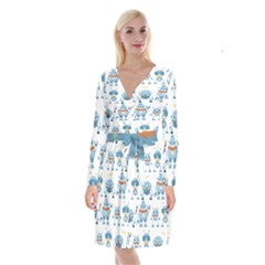Seamless Pattern With Funny Robot Cartoon Long Sleeve Velvet Front Wrap Dress