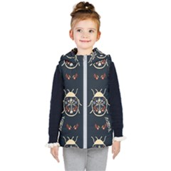 Floral Bugs Seamless Pattern Kids  Hooded Puffer Vest