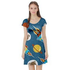 Seamless Pattern Vector With Spacecraft Funny Animals Astronaut Short Sleeve Skater Dress