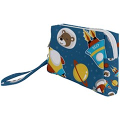 Seamless Pattern Vector With Spacecraft Funny Animals Astronaut Wristlet Pouch Bag (small) by Bejoart