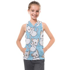 Seamless Little Cat Dragonfly Pattern Kids  Sleeveless Hoodie