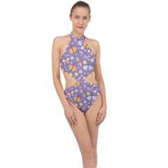 Vector Seamless Pattern With Butterflies Beetles Halter Side Cut Swimsuit