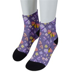 Vector Seamless Pattern With Butterflies Beetles Men s Low Cut Socks