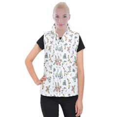 Seamless Pattern With Moth Butterfly Dragonfly White Backdrop Women s Button Up Vest