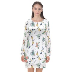 Seamless Pattern With Moth Butterfly Dragonfly White Backdrop Long Sleeve Chiffon Shift Dress  by Bejoart