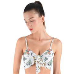 Seamless Pattern With Moth Butterfly Dragonfly White Backdrop Woven Tie Front Bralet