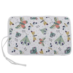 Seamless Pattern With Moth Butterfly Dragonfly White Backdrop Pen Storage Case (m)