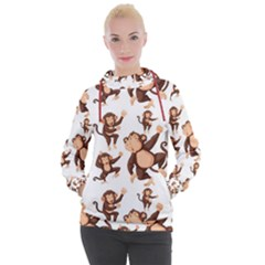 Monkey Seamless Pattern Women s Hooded Pullover