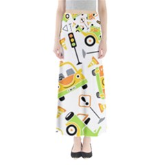 Seamless Pattern Vector Illustration Vehicles Cartoon Full Length Maxi Skirt