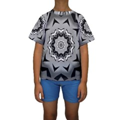Cultural Grey Print Kids  Short Sleeve Swimwear