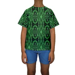 Green Tribal Print Kids  Short Sleeve Swimwear