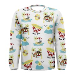 Vector Pattern With Funny Animals Cartoon Summer Holiday Beach Men s Long Sleeve Tee