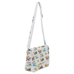 Vector Pattern With Funny Animals Cartoon Summer Holiday Beach Shoulder Bag With Back Zipper