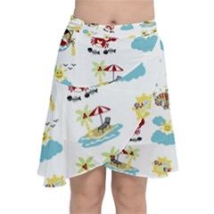 Vector Pattern With Funny Animals Cartoon Summer Holiday Beach Chiffon Wrap Front Skirt